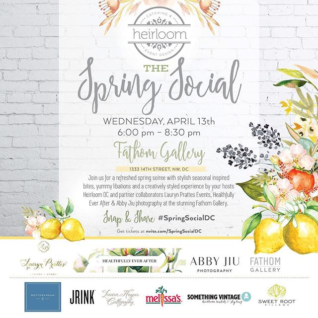 Come celebrate SPRING with us with tasty bites and yummy libations at #springsocialdc @fathomgallery on April 13th! Link to tickets in the profile...Check out the rockstar ?participants tagged in our photo!