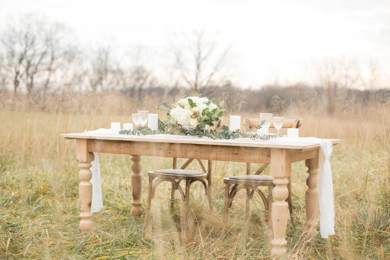 Farm table in field