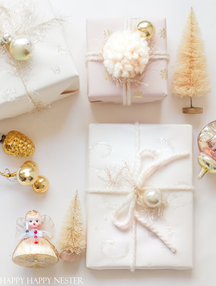gift wrapping, tags and bow for Christmas