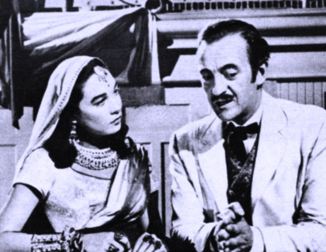 "Who's the girl? It's Shirley in the role of a Hindu Princess in ""Around The World in Eighty Days."" David Niven starred."