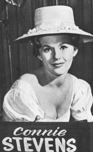 """CONNIE STEVENS, Cricket Blake of """"Hawaiian Eye"""" as everybody would know, even if her names wasn't on her chair"""