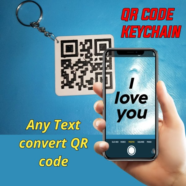 QR Code Keychain   Any Text , Love Proposal , Website link