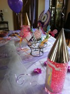 Cake table with tulle, Rapunzel towers and decorations