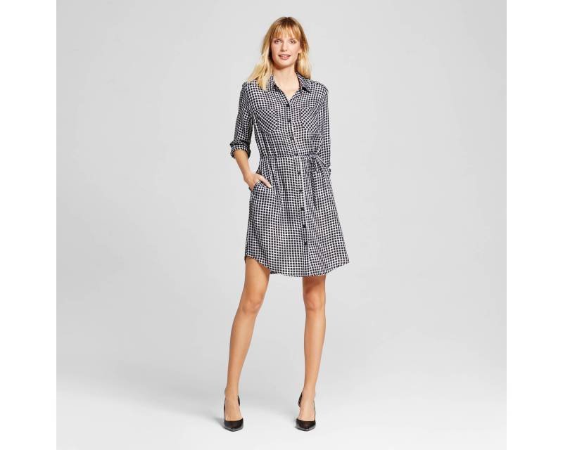 Women's Plaid Shirt Dress - Merona