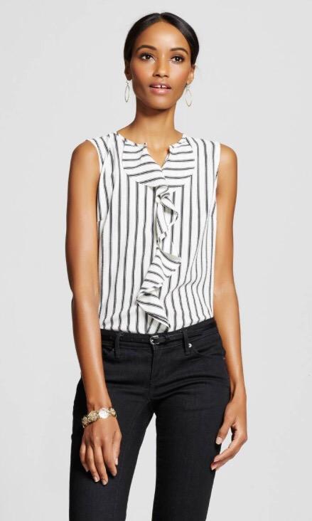 Women's Sleeveless Striped Ruffle Front Tank Cream - Merona
