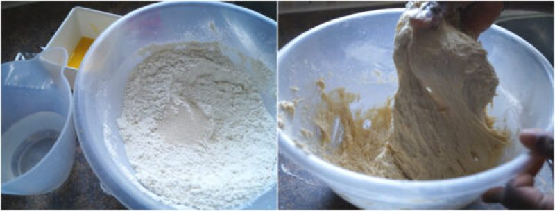 image collage of flour, yeast and batter