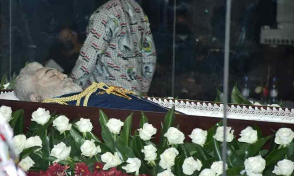 PHOTOS: Ex-Prez Rawlings body lying in state goes viral despite a ban on cameras at viewing