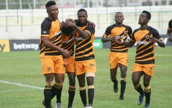 AshGold-players celebrating their win against Hearts of Oak in their 2020-21 week 19 match