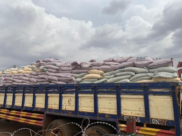 The bags of sugar in a cargo truck