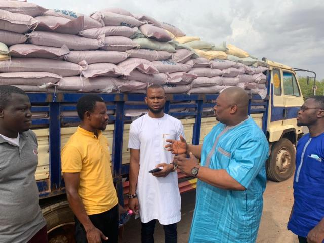 Farouk Aliu Mahama with others during the donation