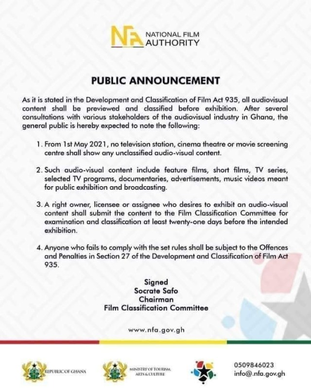 Film Classification Committee statement on the implementation of Act 935