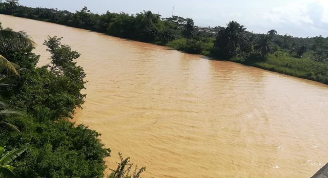 A river left useless by illegal mining activities