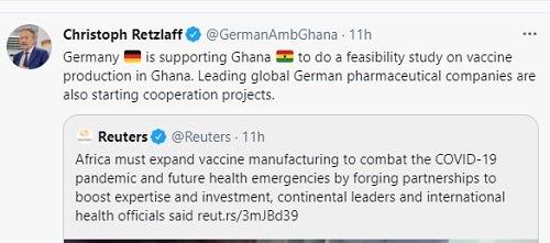 German Ambassador tweet