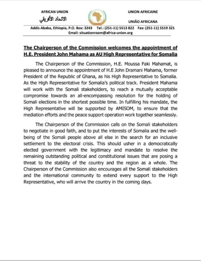 A letter from the AU Chairperson announcing acknowledging Mahama's appointment as High Representative to Somalia