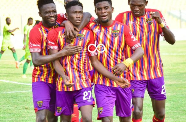 Accra Hearts of Oak players celebrate their goal against Bechem United at the Nana Gyeabour Park at Bechem