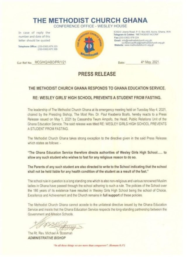 The statement by the Methodist Church Ghana