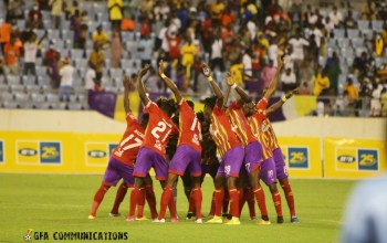 Accra Hearts of Oak players celebrate during their FA Cup semi-final match against Medeama SC at Cape Coast Stadium on August 1, 2021