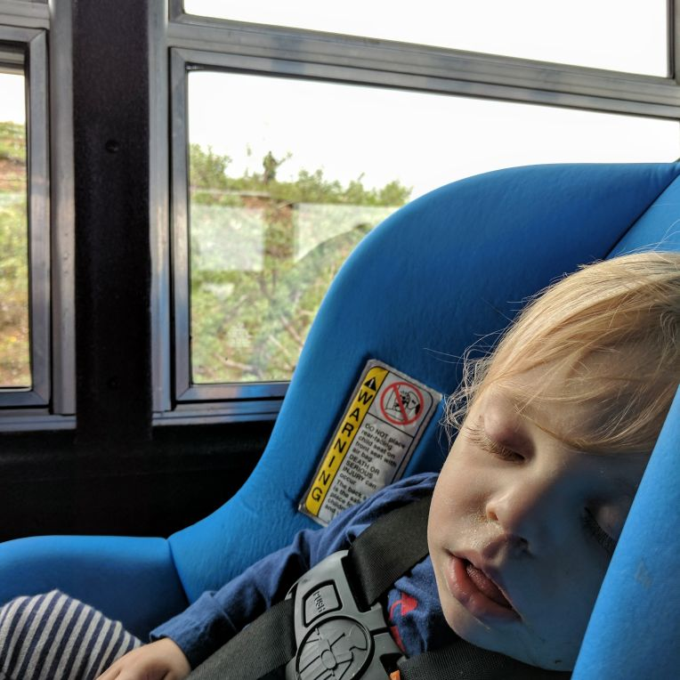 Asleep on the bus in Denali
