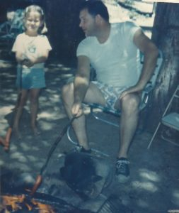 Me and Dad Roasting Hot Dogs at Campfire