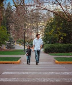 Father-Son Crossing Street