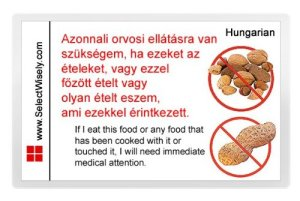 Nuts and Peanut Allergy Translation Card – Translated in Afrikaans or any of 67 languages 1896