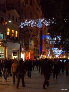 Istiklal Street. Very busy on a Saturday night.