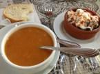 Lentil soup and dolmas (stuffed grape leaves).