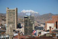 View of Illimani's peak (21,122 ft.) from our hotel.
