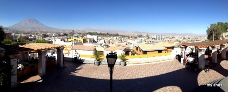 Panoramic view of Arequipa from Yanahuara lookout with El Misti at left.