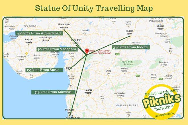 Travelling Map of Statue of Unity