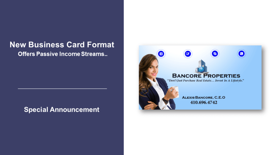 New Business Card Format Offers Passive Income Streams       THE AIDA CARD New Business Card Format Offers Passive Income Streams