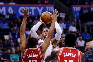 Westbrook shot over Eric Gordon and Clint Capela of the Rockets this month. Credit Alonzo Adams/Associated Press