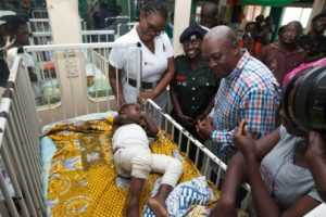 President Mahama,  at 37 Military Hospital, visiting some of the victims of the gas explosion