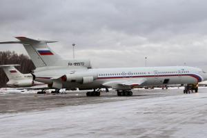 This photo taken on Jan. 15, 2015 shows a Tu-154 plane at Chkalovsky military airport near Moscow, Russia. (Dmitry Petrochenko / AP)
