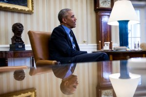 President Obama in the Oval Office during an interview with Michiko Kakutani on Friday. Credit Doug Mills/The New York Times