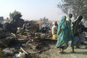 The aftermath of Tuesday's bombing at a camp for displaced people in Rann, Nigeria. Credit Doctors Without Borders