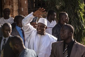 Adama Barrow, the newly elected president of Gambia, after being sworn in on Thursday in a ceremony at an embassy in neighboring Senegal. Credit Sergey Ponomarev for The New York Times