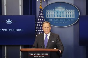 Sean Spicer, the White House press secretary, at the White House on Tuesday. Mr. Spicer denied reports that the purpose of the attack in Yemen was to capture or kill any specific Qaeda leader. Credit Doug Mills/The New York Times