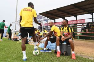 Ghana's players take part in a training session in Port-Gentil on January 18, 2017, during the 2017 Africa Cup of Nations tournament in Gabon (AFP Photo/Justin TALLIS)
