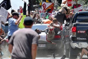 A car slammed into a group of counterprotesters after a rally by white nationalists on Saturday in Charlottesville, Va. killing at least one and injuring at least 19. Credit Ryan M. Kelly/The Daily Progress, via Associated Press