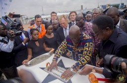 President Akufo -Addo laying the foundation stone for the new factory