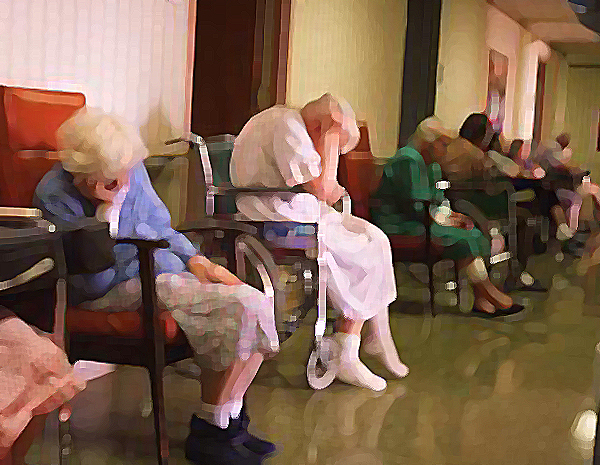 Old people asleep nursing home