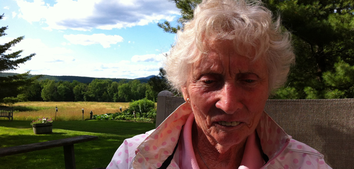 Mary Patricia (Patty) Eustace Macaulay;September 27, 1928 - August 17, 2016. Pictured here in summer 2011.