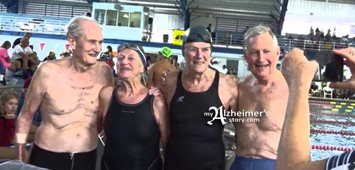 team of four elder swimmers with an average age of 90 breaks world record