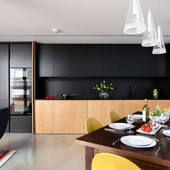 Ultra Modern And Sleek Black And Wood Kitchens