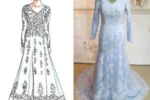 Sketch of custom-made wedding dress