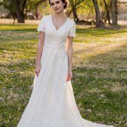Bride Anna in Modest Affordable custom-made wedding dress