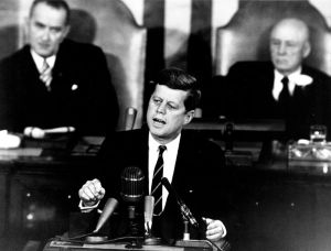 John F. Kennedy declaring that we would put a man on the moon by the end of the decade
