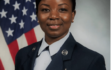 Senior Master Sgt. Eva Appiah of the 357th Airlift Squadron first sergeant of the United States Airforce