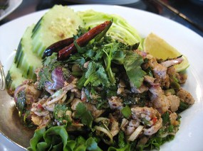 Larb (Thai style) with pork: Textbook larb--clean, bright flavour.